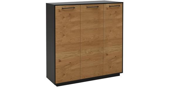 SCHUHSCHRANK Balkeneiche furniert lackiert Anthrazit, Eichefarben  - Eichefarben/Anthrazit, Design, Holz/Metall (127/124/37cm) - Dieter Knoll