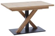 ESSTISCH in Holz 120(165)/80/76 cm   - Eichefarben/Schwarz, Design, Holz/Metall (120(165)/80/76cm) - Dieter Knoll