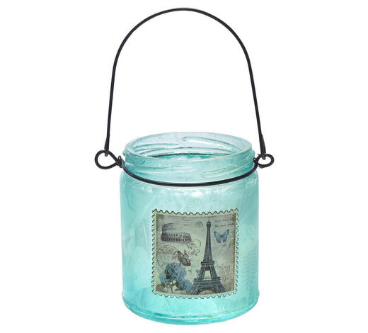 WINDLICHT - Blau, Trend, Glas/Metall (7,5/9cm) - Ambia Home