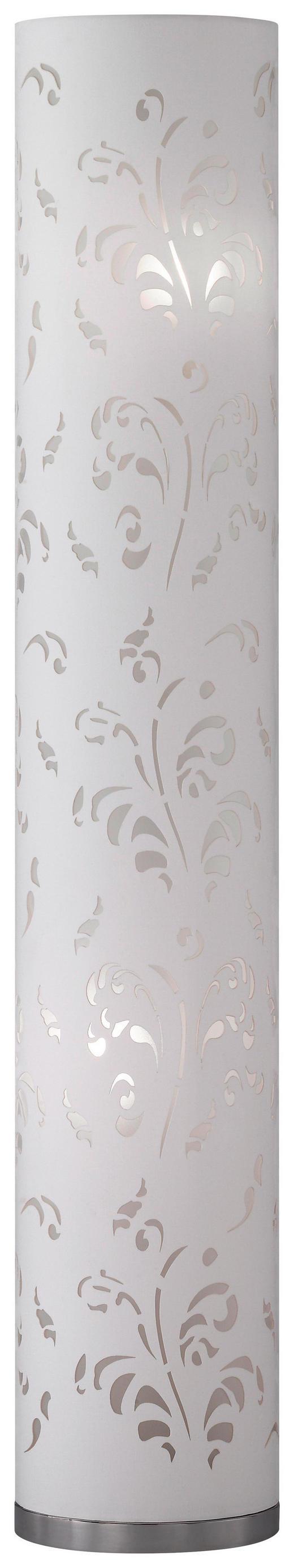 STEHLEUCHTE - Chromfarben/Weiß, KONVENTIONELL, Textil/Metall (110cm)