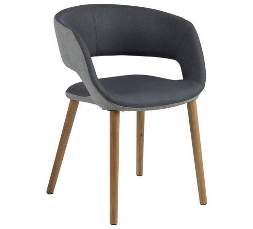 STUHL in Textil Hellgrau, Dunkelgrau - Dunkelgrau/Eichefarben, Design, Holz/Textil (56/74/52cm) - Carryhome