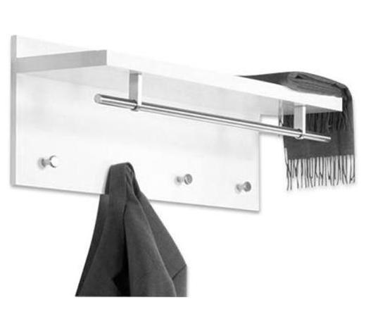 WANDGARDEROBE - Edelstahlfarben/Weiß, Design, Holzwerkstoff/Metall (75/30/26cm) - Carryhome