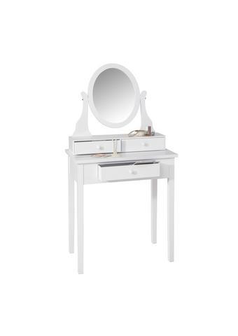STOL ZA ŠMINKANJE - bijela, Lifestyle, staklo/drvni materijal (70/132/40cm) - Ambia Home