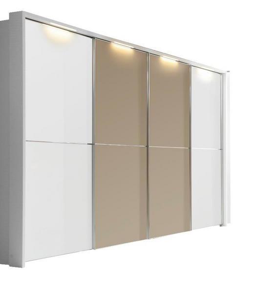 SCHWEBETÜRENSCHRANK 4-türig Creme, Weiß - Creme/Weiß, Design, Glas (360/240/69cm) - Dieter Knoll