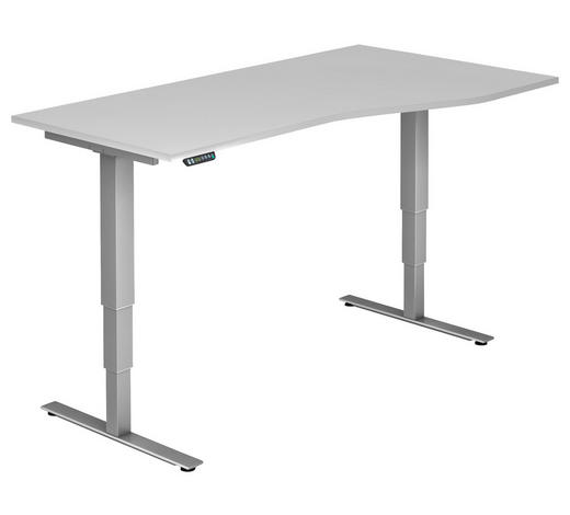 SCHREIBTISCH - Silberfarben/Weiß, KONVENTIONELL, Holzwerkstoff/Metall (180/63,5-128,5/80/100cm)