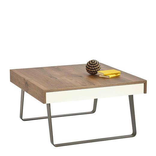 COUCHTISCH Eiche furniert quadratisch Eichefarben, Fango, Weiß - Fango/Eichefarben, Design, Holz/Metall (85/45/85cm)