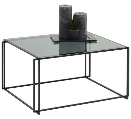 COUCHTISCH rechteckig Grau, Schwarz  - Schwarz/Grau, MODERN, Glas/Metall (75/60/38cm) - Bacher