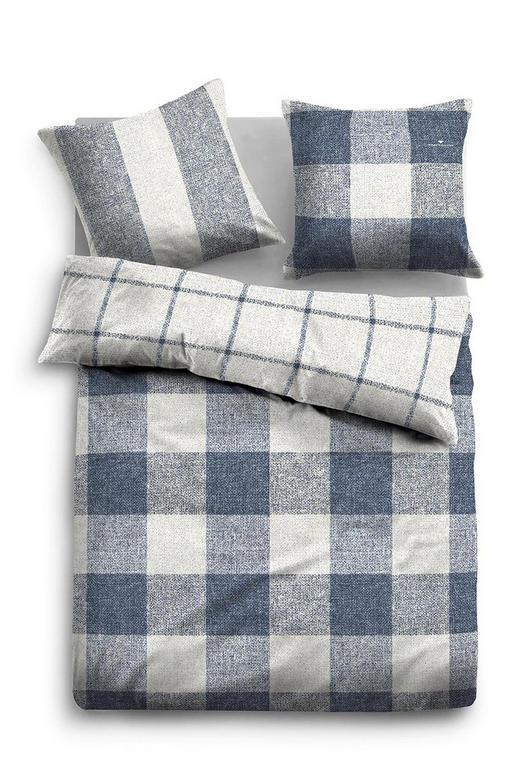 BETTWÄSCHE Biber Blau, Weiß 155/220 cm - Blau/Weiß, LIFESTYLE, Textil (155/220cm) - Tom Tailor