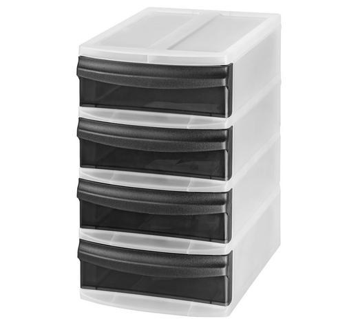 SCHUBLADENBOX Kunststoff Anthrazit, Transparent  - Transparent/Anthrazit, Basics, Kunststoff (19,6/14,1/23,3cm) - Rotho