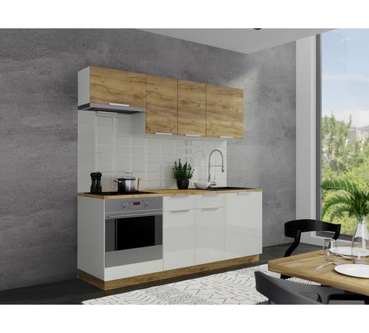 KUCHYŇSKÝ BLOK - bílá/bronzová, Konvenční, kompozitní dřevo (200cm)