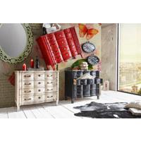 KOMODA, dřevo, kompozitní dřevo, mangové dřevo, masivní, bílá - bílá/barvy mosazi, Trend, kov/dřevo (100/85/45cm) - Ambia Home