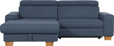 WOHNLANDSCHAFT in Textil Dunkelblau  - Eichefarben/Dunkelblau, Design, Textil (178/262cm) - Hom`in
