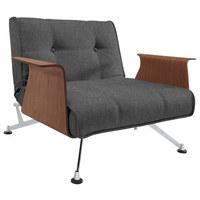KŘESLO, antracitová, dřevo, kov, textil, - barvy ořechu/antracitová, Design, kov/dřevo (113/77/92-115cm) - Innovation