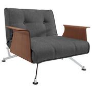 KŘESLO, antracitová, dřevo, kov, textilie, - barvy ořechu/antracitová, Design, kov/dřevo (113/77/92-115cm) - Innovation