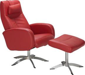 FÅTÖLJ OCH PALL - röd/kromfärg, Design, metall/läder (74/104/75cm) - Hjort Knudsen