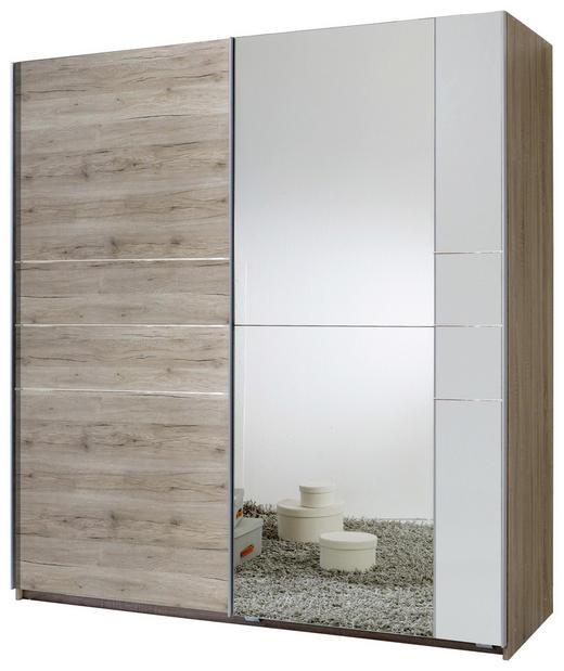 SCHWEBETÜRENSCHRANK 2-türig Eichefarben, Weiß - Eichefarben/Alufarben, MODERN, Holzwerkstoff/Metall (180/198/64cm) - Carryhome