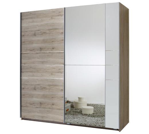 SCHWEBETÜRENSCHRANK 2-türig Weiß, Eichefarben  - Eichefarben/Alufarben, MODERN, Holzwerkstoff/Metall (180/198/64cm) - Carryhome