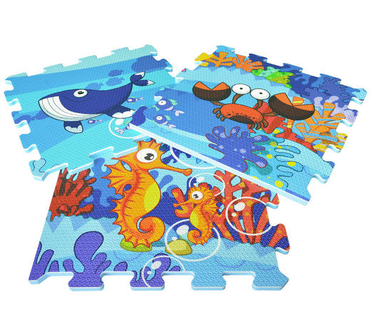 PUZZLEMATTE SEA WORLD - Blau, Design, Kunststoff (122/92/1cm)