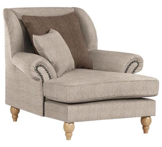 OHRENSESSEL in Textil Kaschmir, Cappuccino - Kaschmir/Eichefarben, Design, Holz/Textil (115/103/128cm) - Carryhome