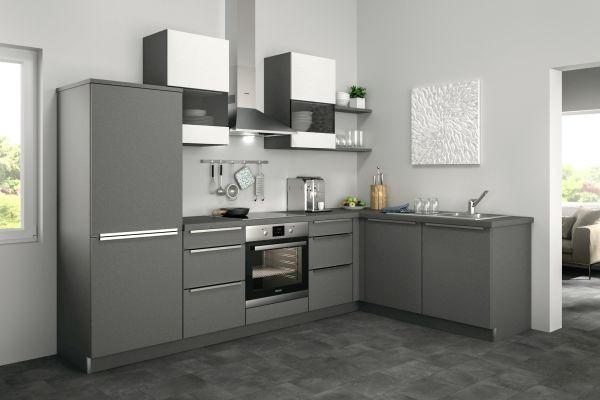 Eckküche Ohne E Geräte   Weiß/Grau, Design (285/185cm)
