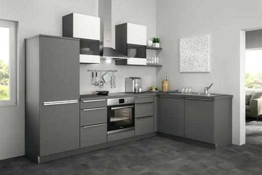 Eckküche ohne E-Geräte Soft-Close-System, Spüle - Weiß/Grau, Design (285/185cm) - SetOne by Musterring