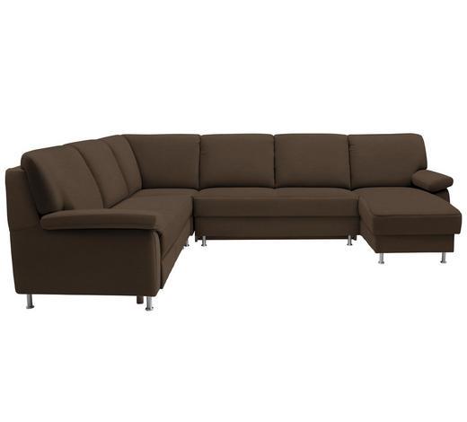 WOHNLANDSCHAFT in Textil Braun  - Braun, KONVENTIONELL, Textil/Metall (250/313/155cm) - Ada Austria