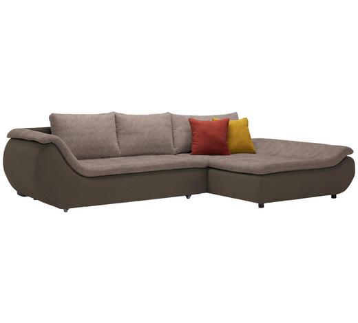 WOHNLANDSCHAFT in Textil Braun, Dunkelbraun  - Dunkelbraun/Schwarz, Design, Kunststoff/Textil (310/185cm) - Carryhome