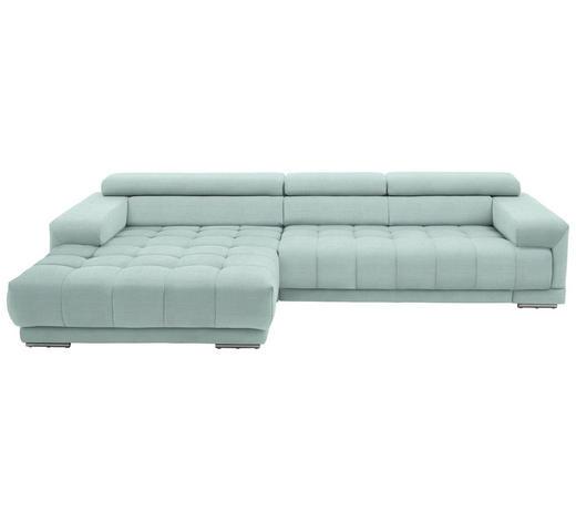 WOHNLANDSCHAFT in Textil Mintgrün  - Silberfarben/Mintgrün, Design, Textil/Metall (190/335cm) - Beldomo Style