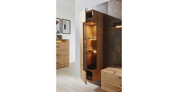 WOHNWAND in Anthrazit, Eichefarben, Rostfarben  - Eichefarben/Rostfarben, Design, Glas/Holz (307/213,2/47,2-55,2cm) - Dieter Knoll