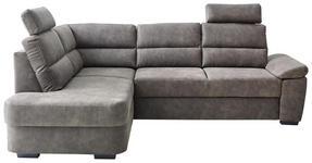 WOHNLANDSCHAFT Lederlook Bettkasten, Rücken echt, Sitzvorzug - Dunkelbraun/Grau, KONVENTIONELL, Kunststoff/Textil (193/251cm) - Cantus