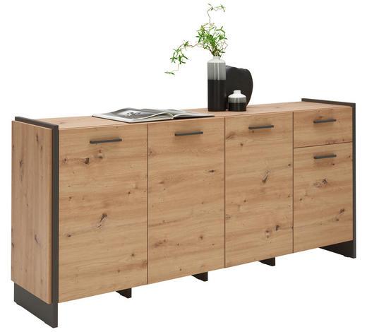 KOMODA - siva/boje hrasta, Trend, drvni materijal/plastika (186,5/86,1/41,3cm) - Carryhome
