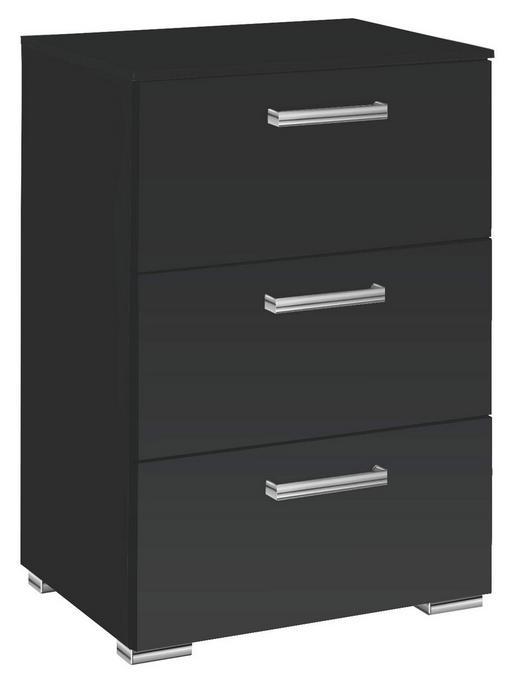 KOMMODE Schwarz - Chromfarben/Schwarz, Design, Kunststoff/Metall (55/81/42cm) - Carryhome