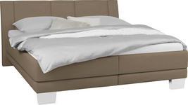 POLSTERBETT 180 cm   x 200 cm   in Textil Braun, Sandfarben - Sandfarben/Chromfarben, KONVENTIONELL, Holz/Kunststoff (180/200cm) - Xora