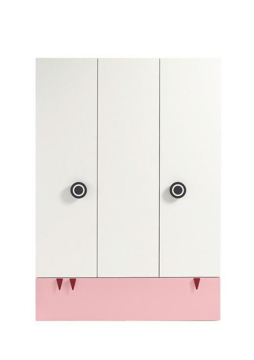 BABYKLEIDERSCHRANK Now! Minimo Hellrosa, Weiß - Hellrosa/Rot, Basics, Holzwerkstoff (135/192/53,1cm) - Now by Hülsta
