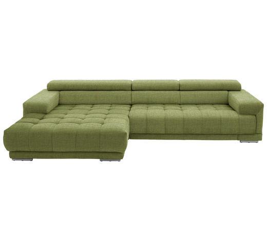 WOHNLANDSCHAFT in Textil Grün - Silberfarben/Grün, Design, Textil/Metall (190/335cm) - Beldomo Style