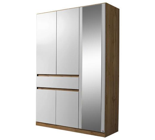 KLEIDERSCHRANK 5-türig Weiß, Eichefarben  - Eichefarben/Weiß, Design, Glas/Holzwerkstoff (136/197/54cm) - Carryhome