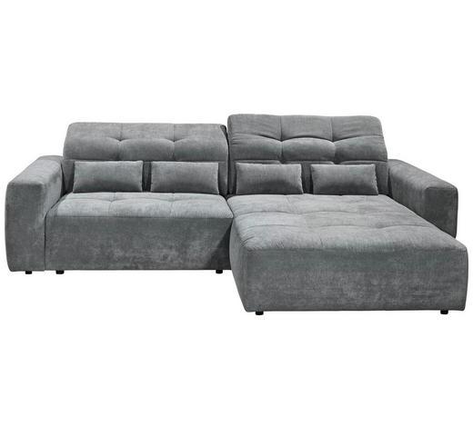WOHNLANDSCHAFT in Textil Grau  - Schwarz/Grau, MODERN, Kunststoff/Textil (298/202cm) - Hom`in
