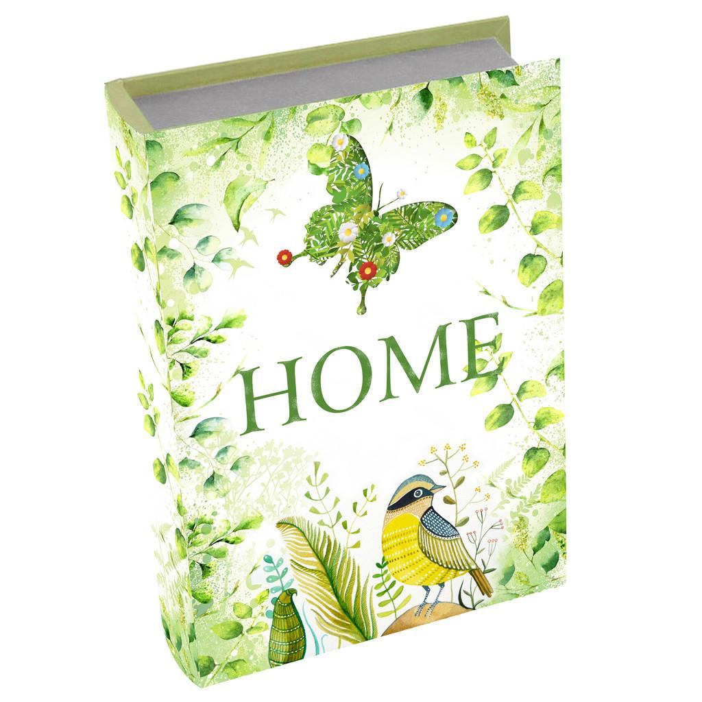 Image of Ambia Home Bücherbox 26/18/6 cm , Gf-Rwb0051 , Grün , Holzwerkstoff , 18x6x26 cm , bedruckt,Nachbildung , Deckel, Deckel aufklappbar, handgemacht , 008325003902