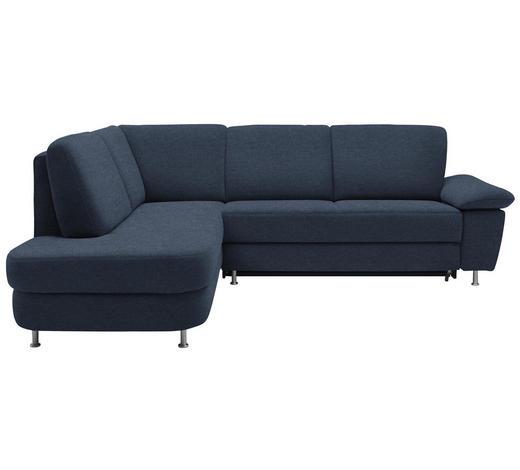 WOHNLANDSCHAFT in Textil Blau  - Blau/Alufarben, KONVENTIONELL, Textil/Metall (212/262cm) - Ada Austria