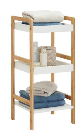 BADRUMSHYLLA - vit/naturfärgad, Klassisk, trä/träbaserade material (36/80/33cm) - Xora