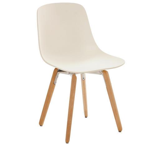 STUHL in Holz, Kunststoff Creme, Weiß, Buchefarben - Buchefarben/Creme, Design, Holz/Kunststoff (47,3/80,3/51,5cm)