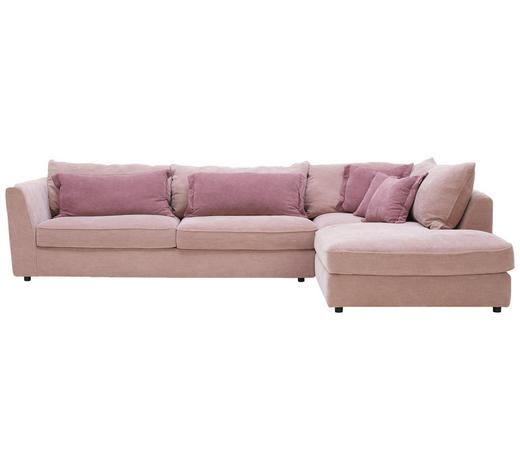 WOHNLANDSCHAFT in Textil Rosa, Altrosa - Altrosa/Schwarz, ROMANTIK / LANDHAUS, Kunststoff/Textil (329/225cm) - Valnatura