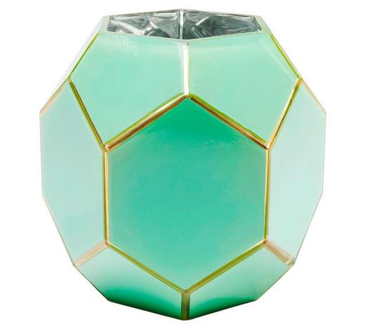 VASE  - Goldfarben/Grün, Design, Glas (18/19/18cm) - Kare-Design