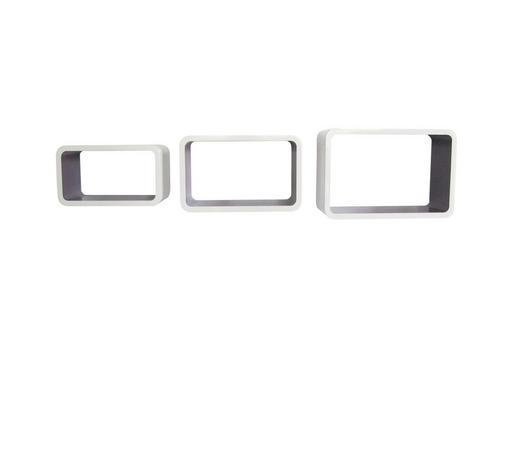 SET ZIDNIH POLICA - bijela/ljubičasta, Design, drvni materijal (45/40/35/30/25/20/20cm) - Boxxx