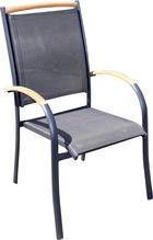 STAPELSESSEL Aluminium - Anthrazit/Teakfarben, KONVENTIONELL, Holz/Textil (58/101/70cm)
