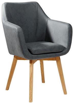 KARMSTOL - antracit/ekfärgad, Design, trä/textil (56/82/55cm) - Carryhome