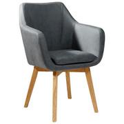 ŽIDLE S PODRUČKAMI, antracitová, barvy dubu, - barvy dubu/antracitová, Design, dřevo/textilie (56/82/55cm) - Carryhome