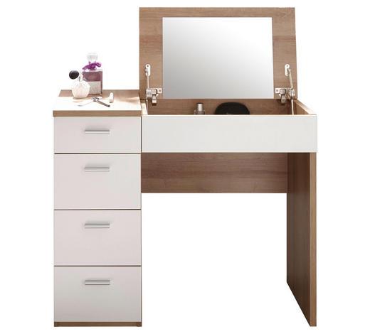 SCHMINKTISCH in Weiß, Sonoma Eiche  - Silberfarben/Weiß, Design, Glas/Holzwerkstoff (90/76/42cm) - Xora