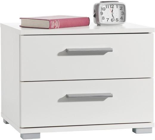 NACHTKÄSTCHEN Weiß  - Alufarben/Weiß, Design, Kunststoff (45/35/34cm) - Carryhome