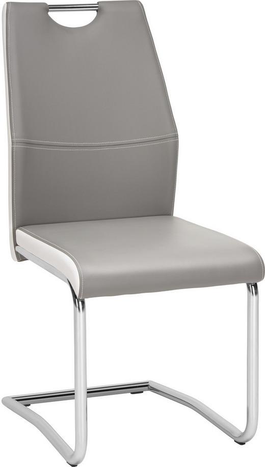 SCHWINGSTUHL Lederlook Chromfarben, Grau, Weiß - Chromfarben/Weiß, Design, Textil/Metall (44/97/60cm) - Carryhome